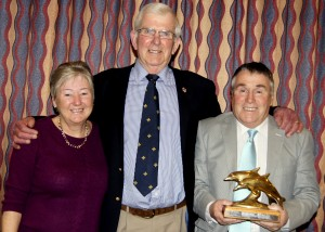John Howes MBE pictured with Brian and Irene Pemberton