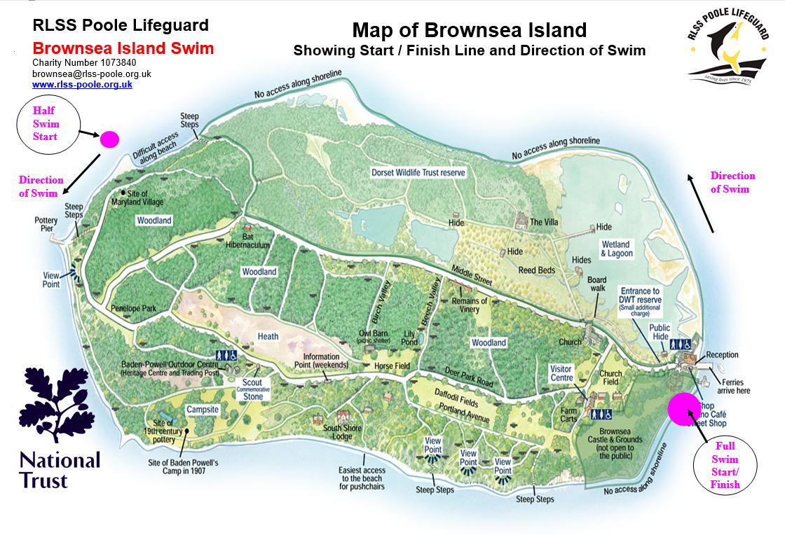 Brownsea Island Map Brownsea Swim – Maps   RLSS Poole Lifeguard